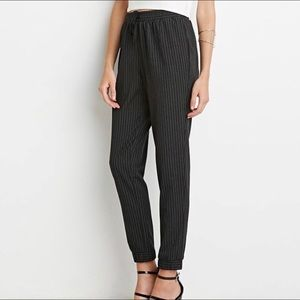Forever 21 Pinstripe Jogger Pants XS